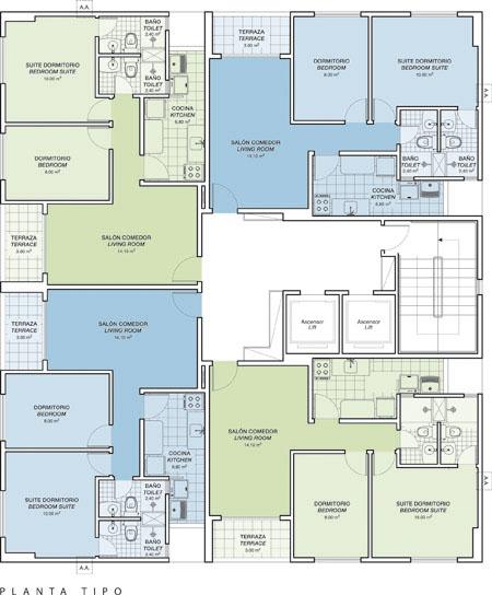 Plano de planta edificio a luis antolinez - Planos de casas de una planta pequenas ...